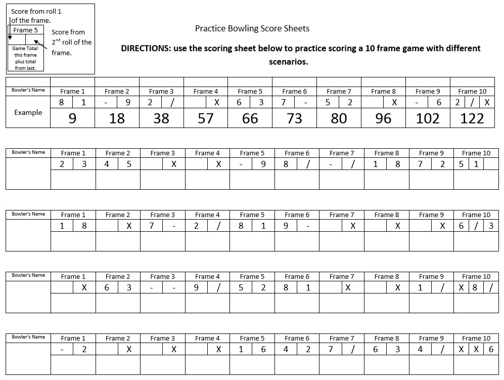 Simple Printable bowling score sheet with pins - Excel Template