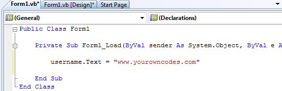 programatically changing textbox text in vb