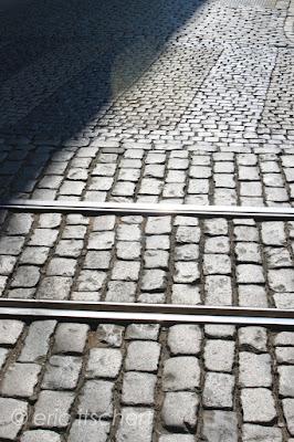 ombres, urbain, photo, ville, sol, mur, pavés