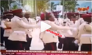 Lolz: Officer's cap falls during Independence Day parade in Abuja - video