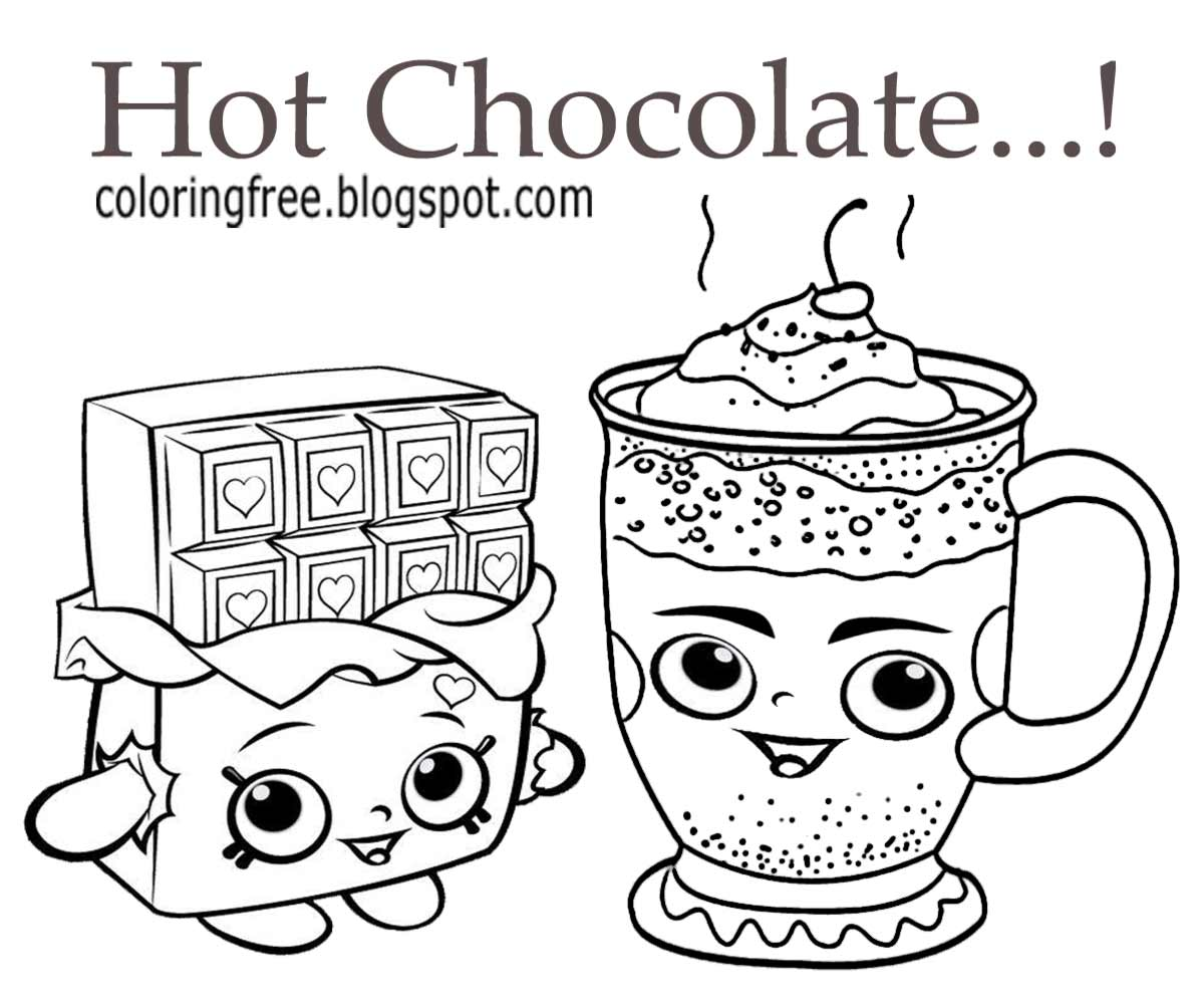 Hot chocolate with marshmallows page coloring pages for Cute marshmallow coloring pages