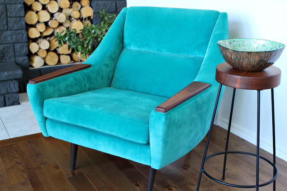 Aqua velvet mid-century modern chair