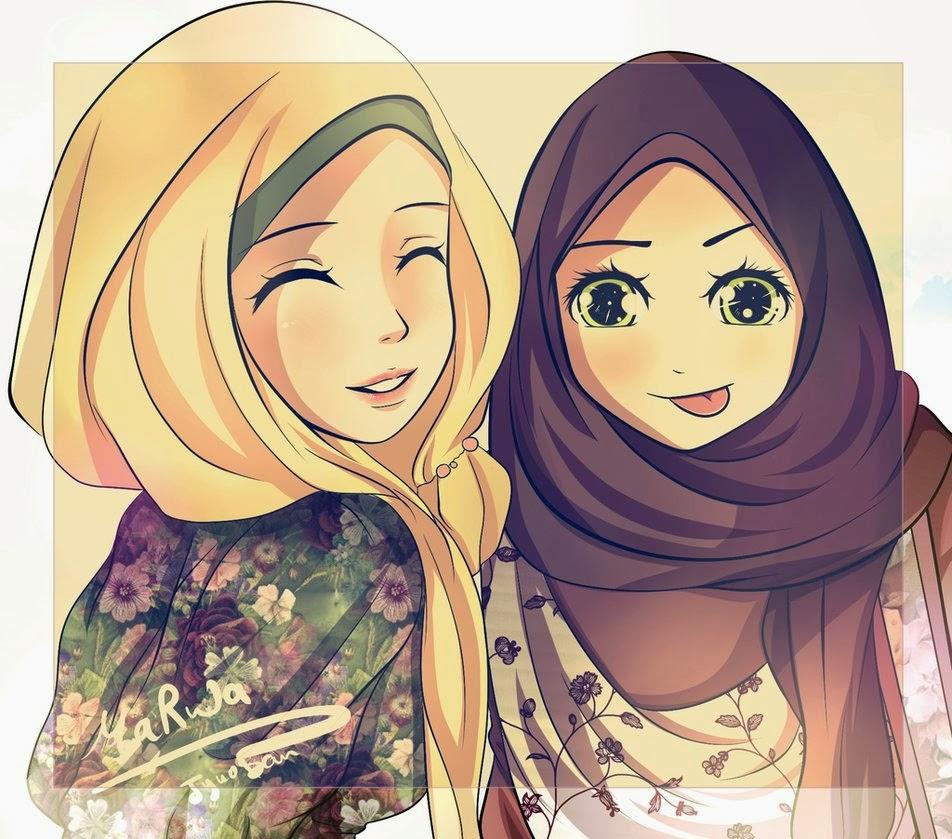 Gambar Kartun Muslimah Persahabatan 2 Orang