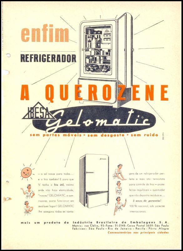 Propaganda da Gelomatic onde promovia o refrigerador movido a querosene nos anos 50
