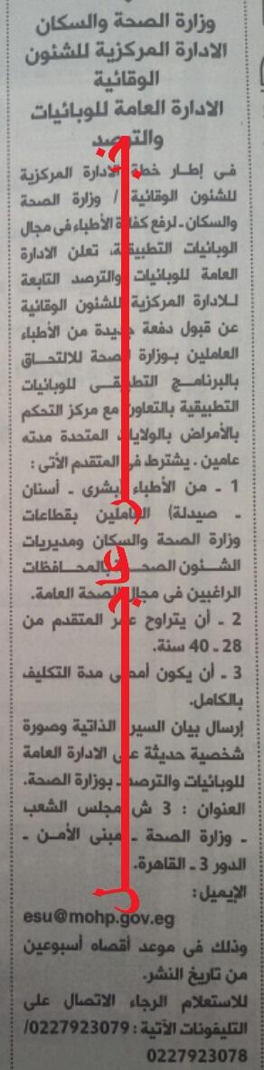 اعلان وزارة الصحة والسكان اليوم بجريدة الاهرام والاوراق المطلوبة والتقديم لمدة اسبوعين