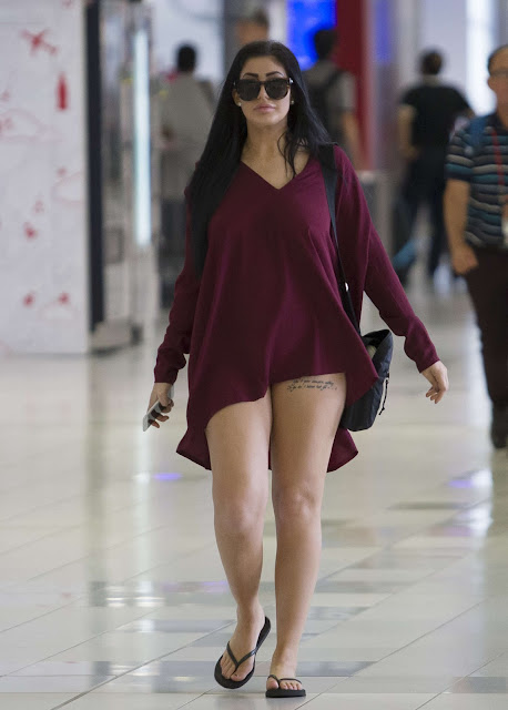 Chloe Etherington in Mini Dress Arrives to Perth