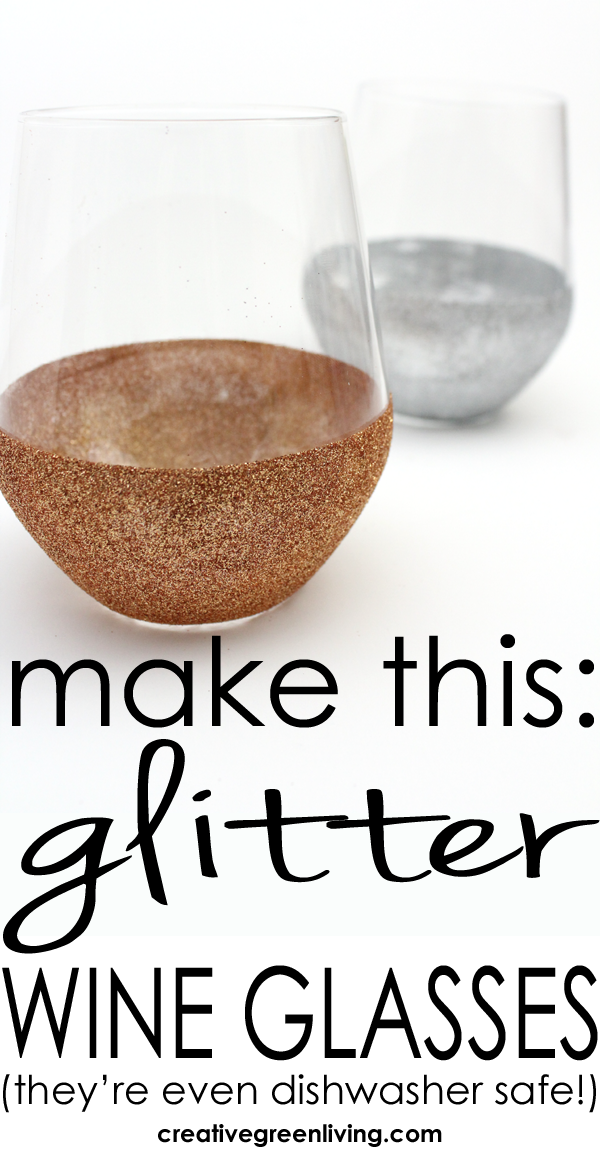 how to make DIY glitter stemless wine glasses
