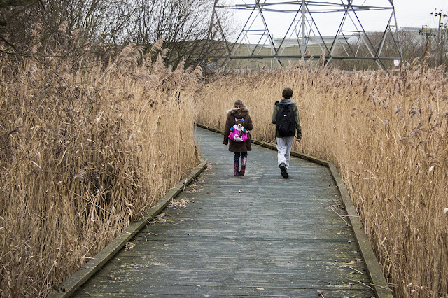 Tubs and the Little Lady wandering along the board walks of Rainham Marshes