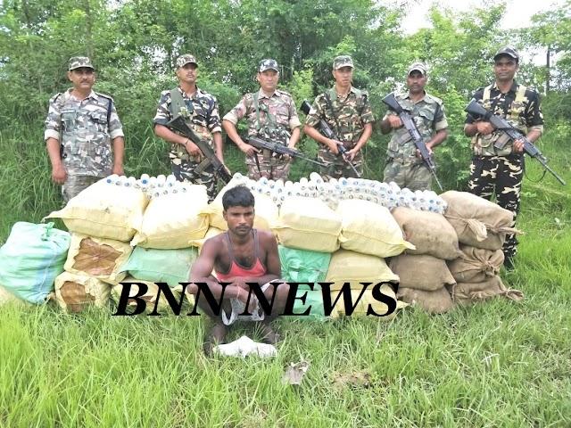 अखरहरघाट एसएसबी ने जब्त किए साढ़े सात लाख के नेपाली शराब