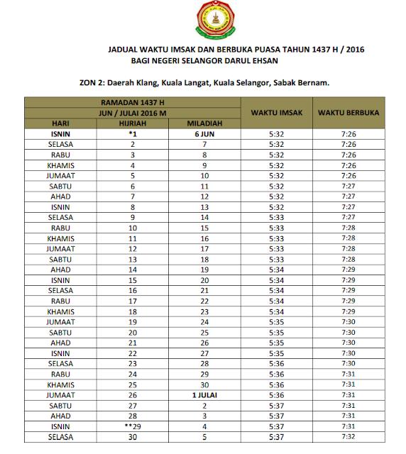 Jadual Waktu Berbuka Puasa & Imsak 2016 Selangor