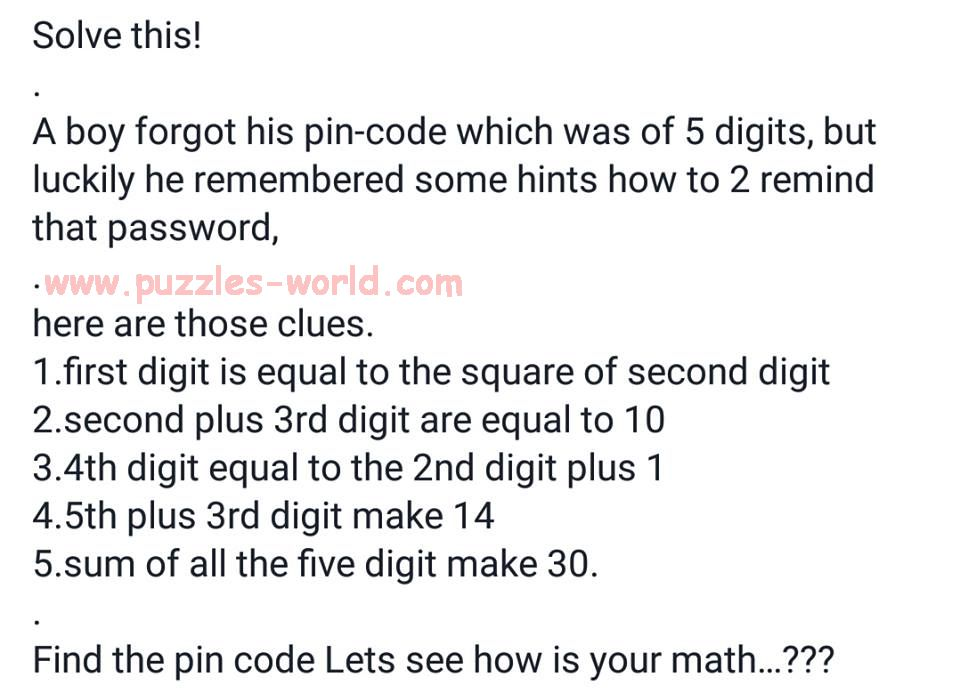 Find the Pin Code ?