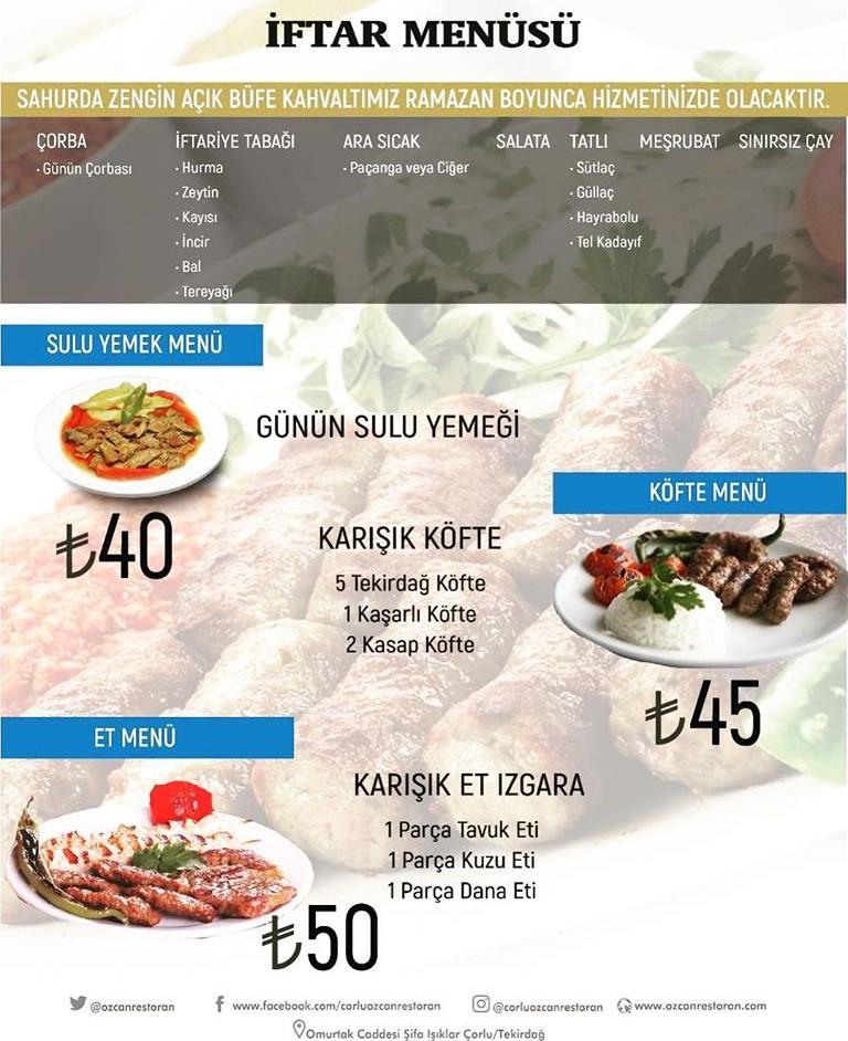 özcan restaurant çorlu tekirdağ iftar menü