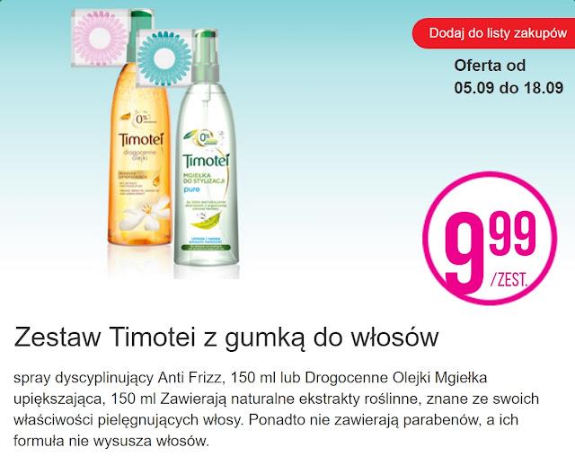 Zestaw Timotei z gumką do włosów - Biedronka, promocja