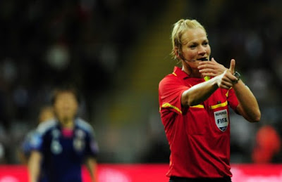 German female cop Bibiana Steinhaus: first woman to referee in Bundesliga