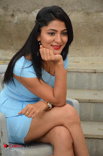 Actress Ankitha Jadhav Pictures in Blue Short Dress at Cottage Craft Mela  0035.JPG