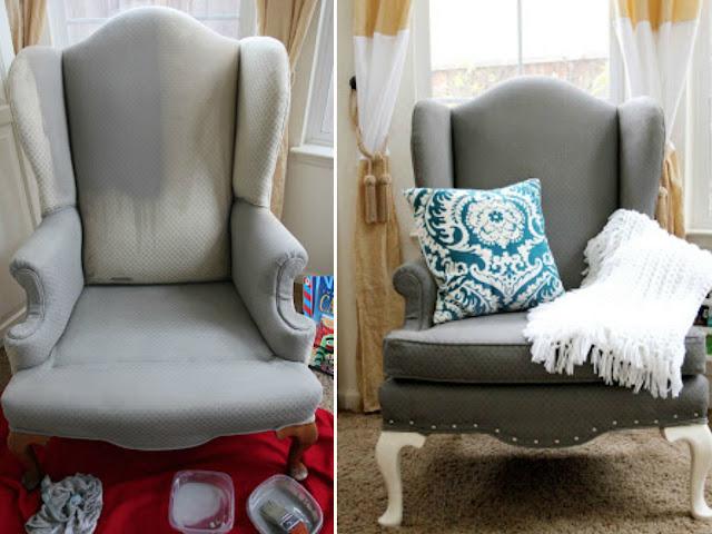 pintar y transformar 10 sillones tapizados con tela