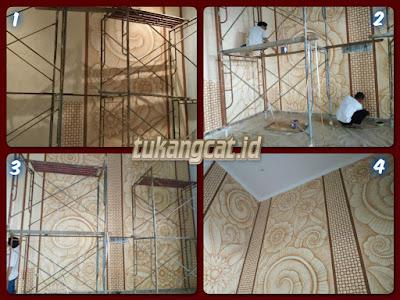 Proses pembuatan mural lukis dinding dekoratif ornament