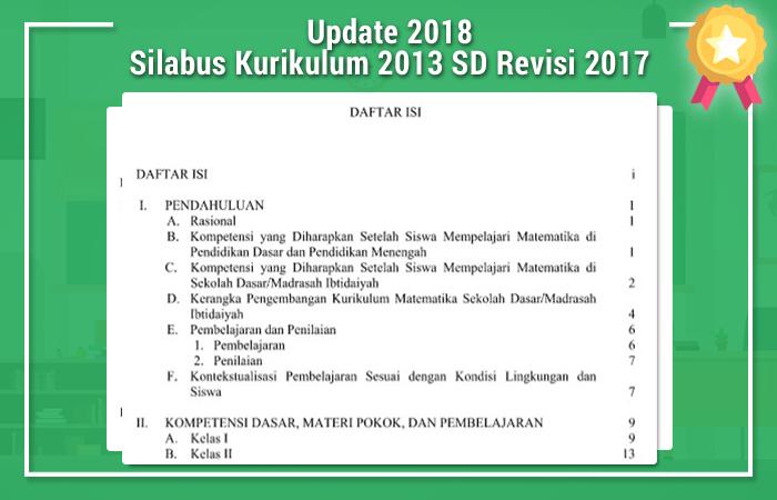 Download Silabus Kurikulum 2013 SD Revisi 2017