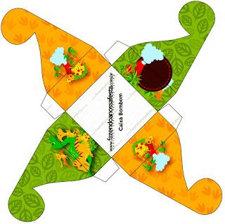 Caja para cupcakes, chocoltes o golosinas de Fiesta de Dinosaurios.