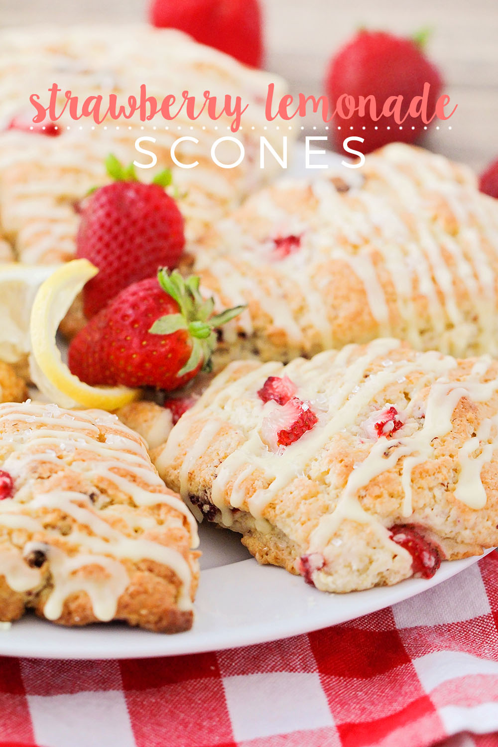 These strawberry lemonade scones taste just like your favorite summertime treat! Delicious strawberry and lemon flavor packed into light and tender scones.
