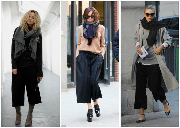 Pantalones culotte negros look invierno maxi bufanda jersey oversize