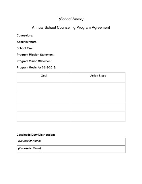 Reproducible Annual School Counseling Program Agreement for counselor and administrators