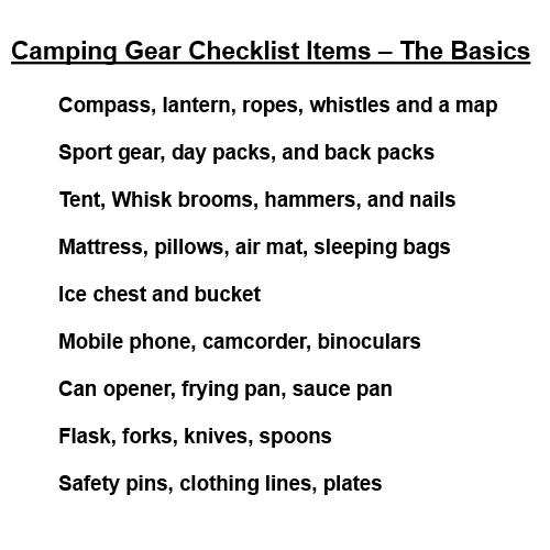 Camping Checklist Campingoverword