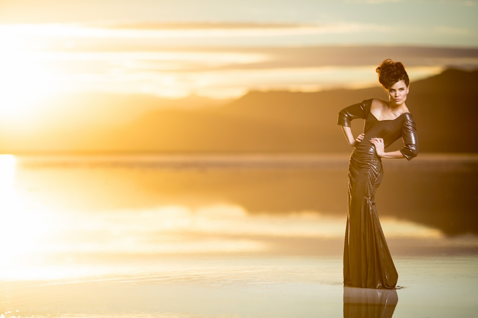 Salt Flats, Reflections, Model, Dress, Designer, Custom, Photography, Photographer, Sunset, Blue, Yellow, Endless Photography, Mike Johnson, Carrie Purser, Mins Cake, Hair, Makeup, Inspiration, Ideas, Pictures, Portrait, Fashion