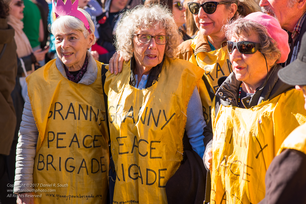 a photo of ladies in the granny peace brigade at a protest in new york