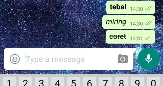 huruf tebal, miring, dan coret di aplikasi chatting WhatsApp