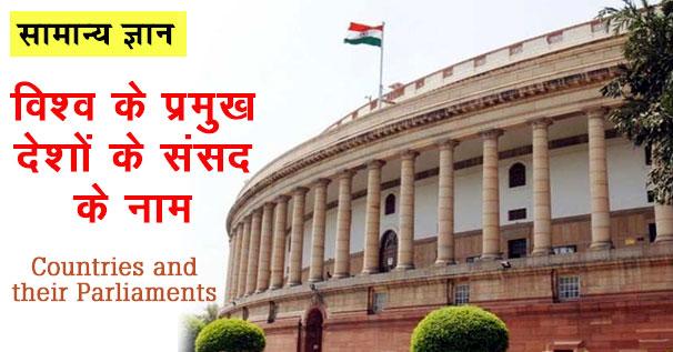 विश्व के प्रमुख देशों के संसद के नाम की सूची