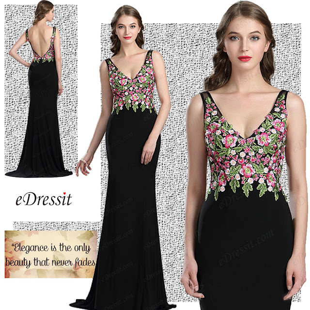 Sexy Floral Embroidery Long Black Evening Dress