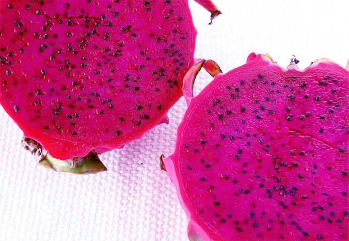 Purple dragon fruit (pitaya) cut in half