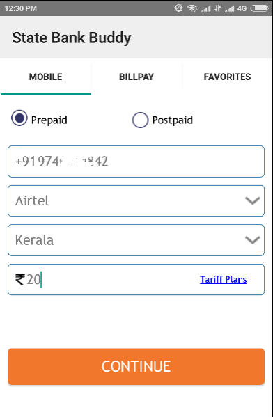 Mobile recharge using buddy app