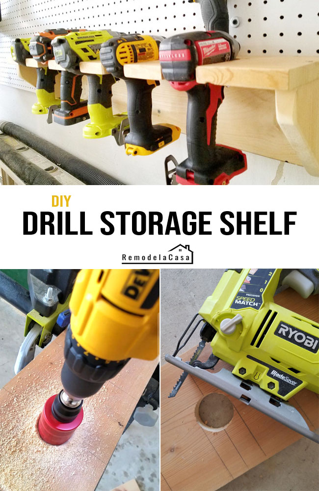 How to build an easy shelf to store drills - mounted to the pegboard