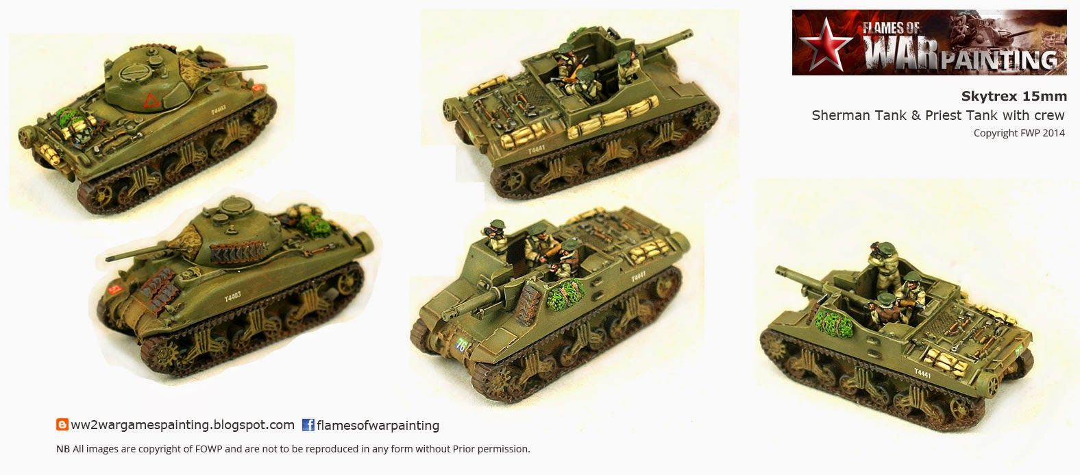 www2 SkyTrex 15mm Sherman tank and Priest Tank with crew