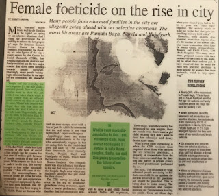 Female Foeticide on the rise in city - Dr Shivani