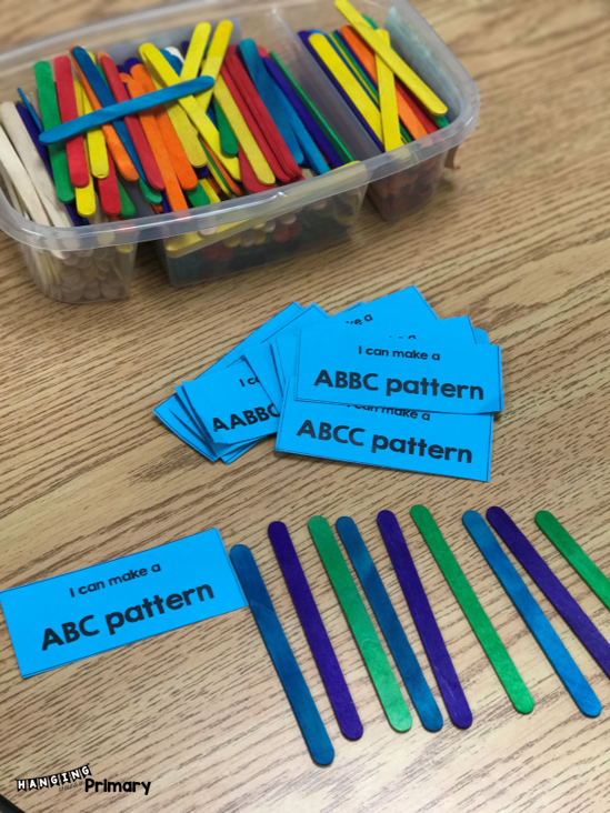 Use these free patterning cards and your students can make patterns with any material.