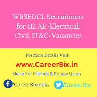 WBSEDCL Recruitment for 112 AE (Electrical, Civil, IT&C) Vacancies