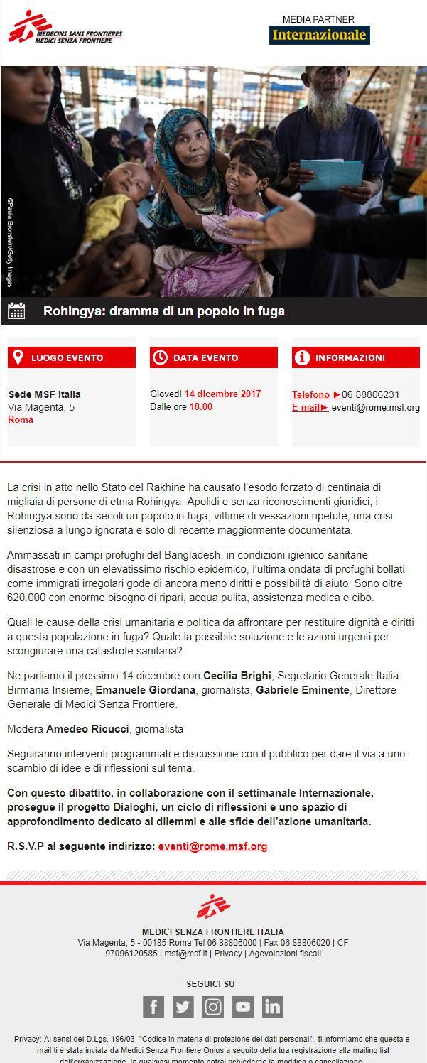 Un dibattito sul caso Rohingya con Msf a Roma il 14 dicembre