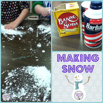 Making snow with baking soda and shaving cream