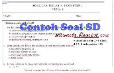 Kumpulan Soal UAS Semester 1 Kelas 4 dan 5 (Kurikulum 2013) SD SWASTA