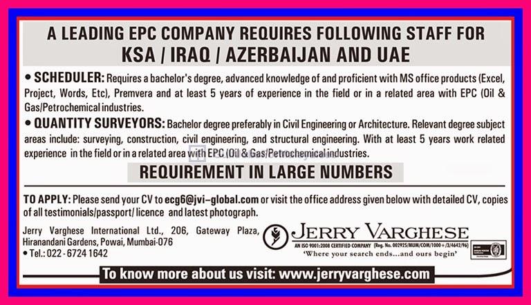 Job Vacancies For An Epc Company Oil U0026 Gas Project Oman