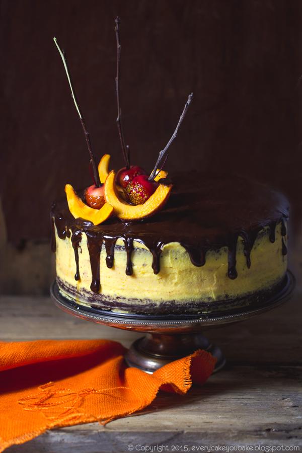 jesienny tort czekoladowy z dyniową warstwą serową