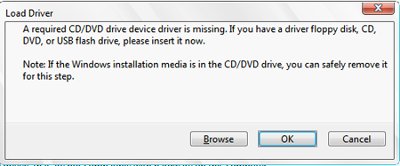 a required cd/dvd drive device is missing