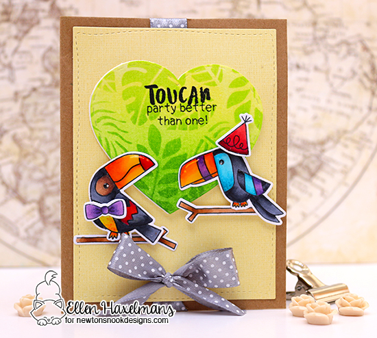 Toucan Birthday Card by Ellen Haxelmans | Toucan Party Stamp Set and Tropical Leaves Stencil by Newton's Nook Designs #newtonsnook #handmade