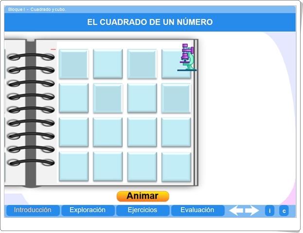 """""""Cuadrado y cubo"""" (Aplicación interativa de Matemáticas de Primaria)"""