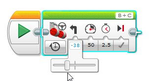 Mindstorms EV3 slider bar set to left to make robot go left