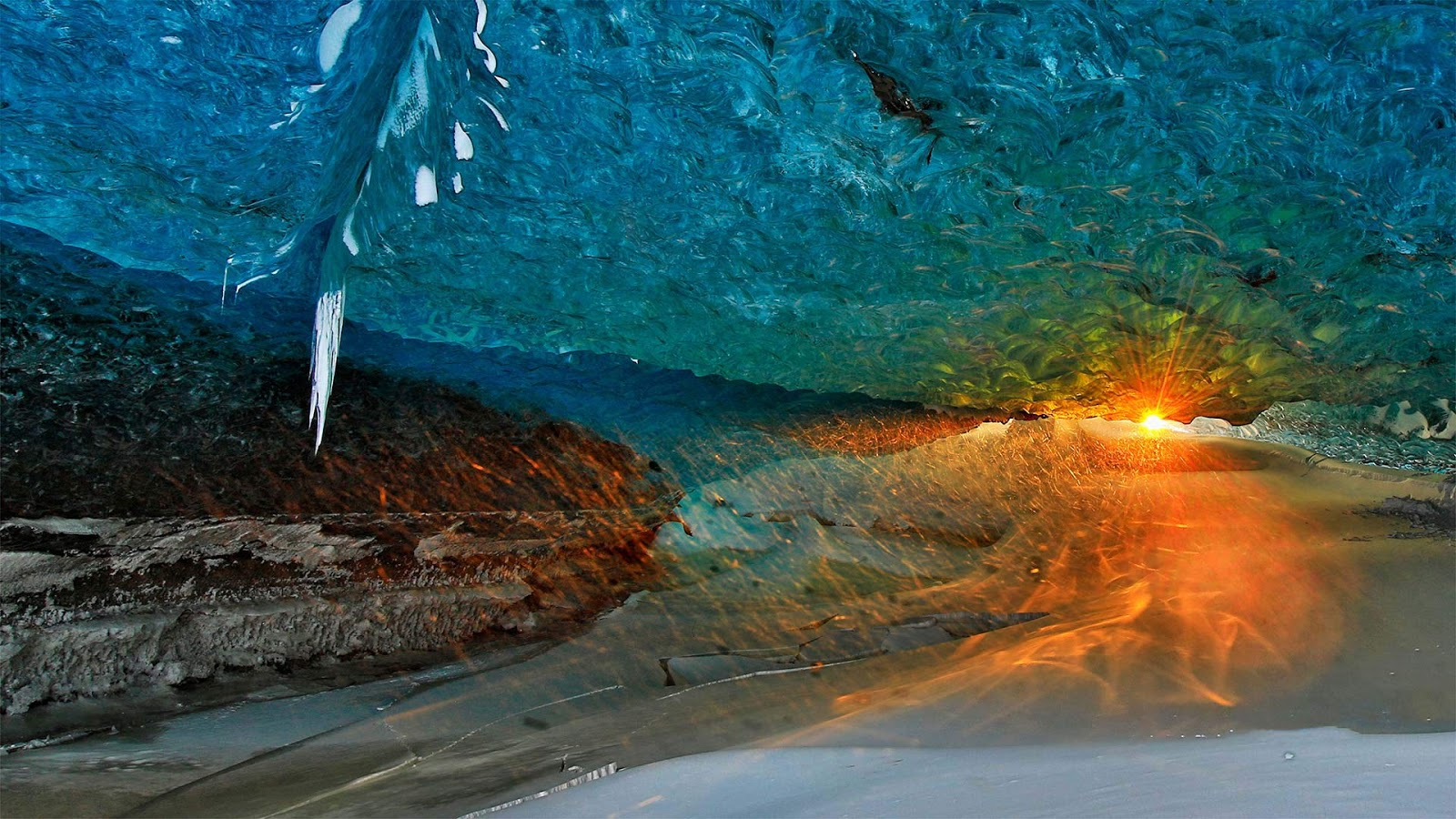 Ice cave at sunset in Vatnajökull National Park, Iceland © Johnathan Ampersand Esper/Aurora Photos