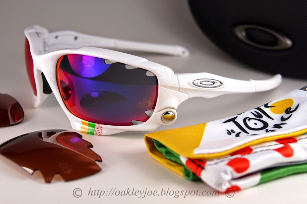 ... Racing Jacket Tour De France polished white + positive red iridium  360  comes with additional black iridium lens lens pre coated with Oakley  hydrophobic ... 1ed18270d5
